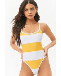 Forever 21 - Striped Racerback One-piece Swimsuit - Lyst