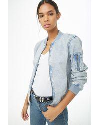a4f51a1503 Lyst - Forever 21 Acid Wash Barbie Denim Jacket in Blue