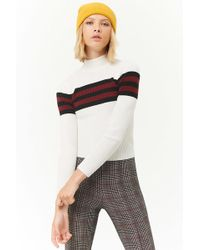 Forever 21 - Ribbed Striped-trim Sweater-knit Top - Lyst