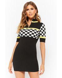 Forever 21 - Checkered-panel Mini Dress - Lyst