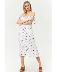 Forever 21 - Polka Dot Open-shoulder Dress , Navy - Lyst