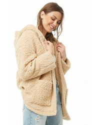 Forever 21 - Hooded Faux Shearling Open-front Jacket - Lyst