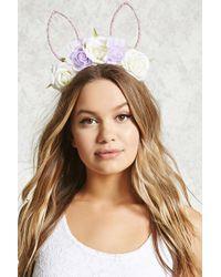 Forever 21 - Floral Velvet Bunny Headband - Lyst