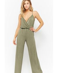 85cfd9490d57 Forever 21 - Women s Surplice Mineral Wash Jumpsuit - Lyst