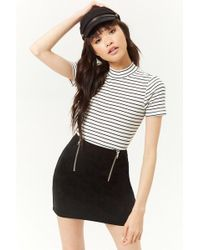 Forever 21 - Faux Suede Zip-front Mini Skirt - Lyst
