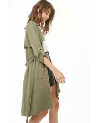 Forever 21 - Draped-front Longline Duster - Lyst