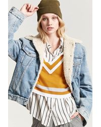 Forever 21 - Stripe V-neckline Sweater - Lyst
