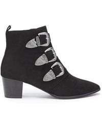 Forever 21 - Faux Suede Buckle Ankle Booties - Lyst