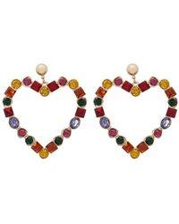 Forever 21 - Multicolor Faux Gem Heart Cutout Earrings - Lyst
