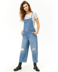Forever 21 - Women's Distressed Wide-leg Denim Dungarees - Lyst