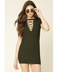 8a92abe44279 Forever 21 Women s Cutout Tie-front Dress in Green - Lyst