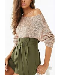c6925b8262df Forever 21 - Sheer Metallic Ribbed Knit Sweater - Lyst