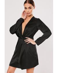Missguided - Twist-front Satin Dress At , Black - Lyst
