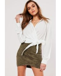 Missguided - Faux Suede Mini Skirt At , Khaki - Lyst