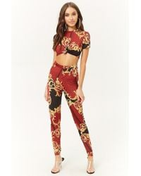 Forever 21 Baroque Geo Knot-front Crop Top & Pants Set , Red