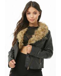 Forever 21 - Faux Fur Moto Jacket - Lyst