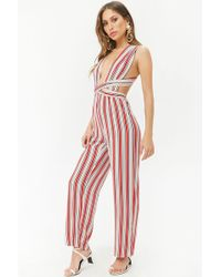 Forever 21 - Multicolor Striped Wraparound Jumpsuit - Lyst
