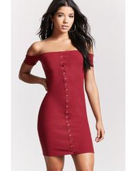 Forever 21 - Off-the-shoulder Buttoned Dress - Lyst