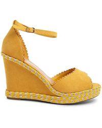 988d54d75a11 Lyst - Forever 21 Metallic Gingham Platform Sandals in Metallic