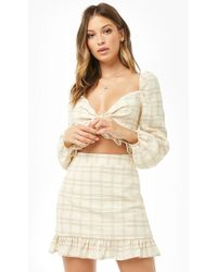 2a329bb5b7 Forever 21 Button-down Grid Print Skirt in Black - Lyst