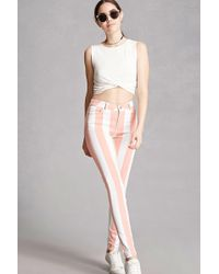 FOREVER21 - Motel Striped Twill Skinny Pants - Lyst
