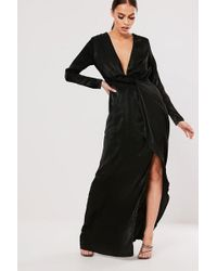 Missguided - Plunging Maxi Dress At , Black - Lyst