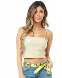 dc6432bb7b7 Forever 21 Clear Vinyl Crop Top in Black - Lyst