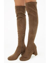 Forever 21 - Women's Faux Suede Over-the-knee Sock Boots - Lyst