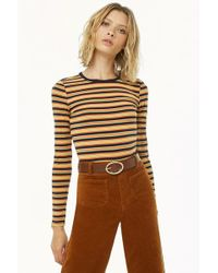 Forever 21 - Women's Striped Long-sleeve Top - Lyst