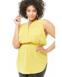 d6c0e0c35b214c Forever 21 - Women's Plus Size Split-neck Top - Lyst