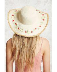 Forever 21 - Floral Wide-brim Straw Hat - Lyst