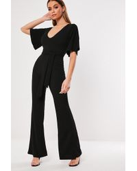 Missguided - Petite Tie-waist Jumpsuit At - Lyst