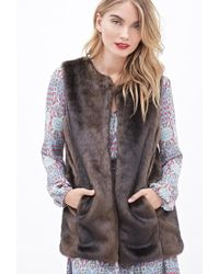 Forever 21 - Collarless Faux Fur Vest - Lyst