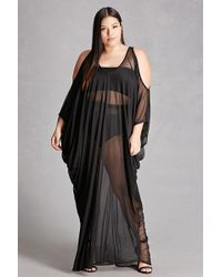 Lyst - Forever 21 Plus Size Sheer Mesh Maxi Dress in Black