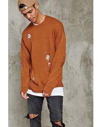 Forever 21 - Distressed Crew Neck Jumper - Lyst