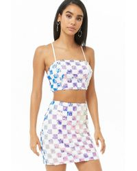 Forever 21 - Checkered Sequin Cropped Cami & Skirt Set - Lyst