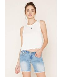 Forever 21 - Frayed Denim Bermuda Shorts - Lyst