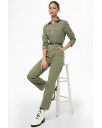 Forever 21 Zip Utility Jumpsuit , Olive