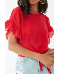 1a635adbb Forever 21 Sheer Knotted Ruffled-sleeve Top in Yellow - Lyst