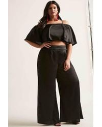 Forever 21 - Plus Size Satin Crop Top & Trousers Set - Lyst