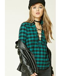 Forever 21 - Buffalo Check Lace-up Shirt - Lyst
