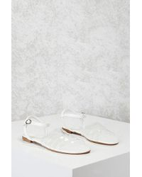 Forever 21 Clear Caged Sandals , White