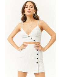Forever 21 - Button-front Pinstriped Crop Cami - Lyst