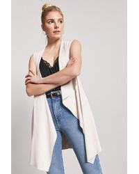 Forever 21 - Faux Suede Draped Open-front Sleeveless Jacket - Lyst