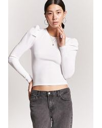 Forever 21 - Textured Puff-sleeve Top - Lyst