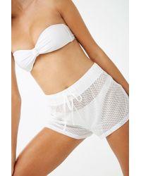 fd7297757f Forever 21 Netted Mesh Drawstring Shorts in White - Lyst