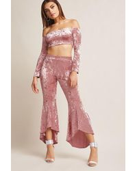 ab460cb5a6a Forever 21 - Crushed Velvet Crop Top And Flare Pants Set - Lyst