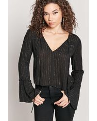 Forever 21 - Metallic Striped Peasant Top - Lyst