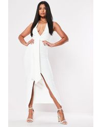 Missguided Plunging Halter Dress At , White