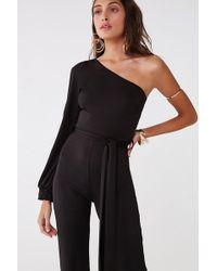 0e614c520607 Lyst - Forever 21 Off-the-shoulder Jumpsuit in Black